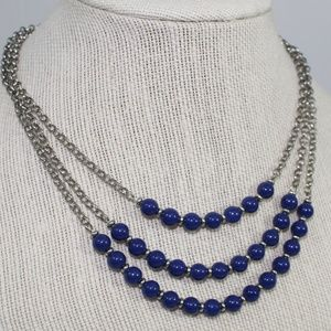 Banana Republic Silver and Blue Tiered Necklace